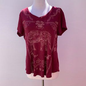 Style & Co. Red Elephant Top Size XL